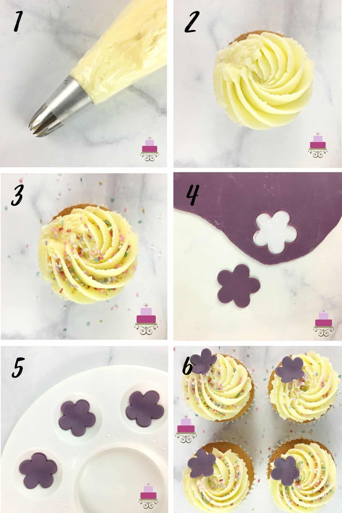 A poster of 6 images showing how to decorate a cupcake with buttercream swirl, sprinkles and a 5 petal fondant flower in purple.