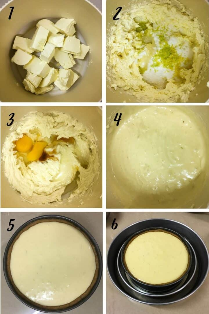 A poster of 6 images showing how to mix cheesecake batter