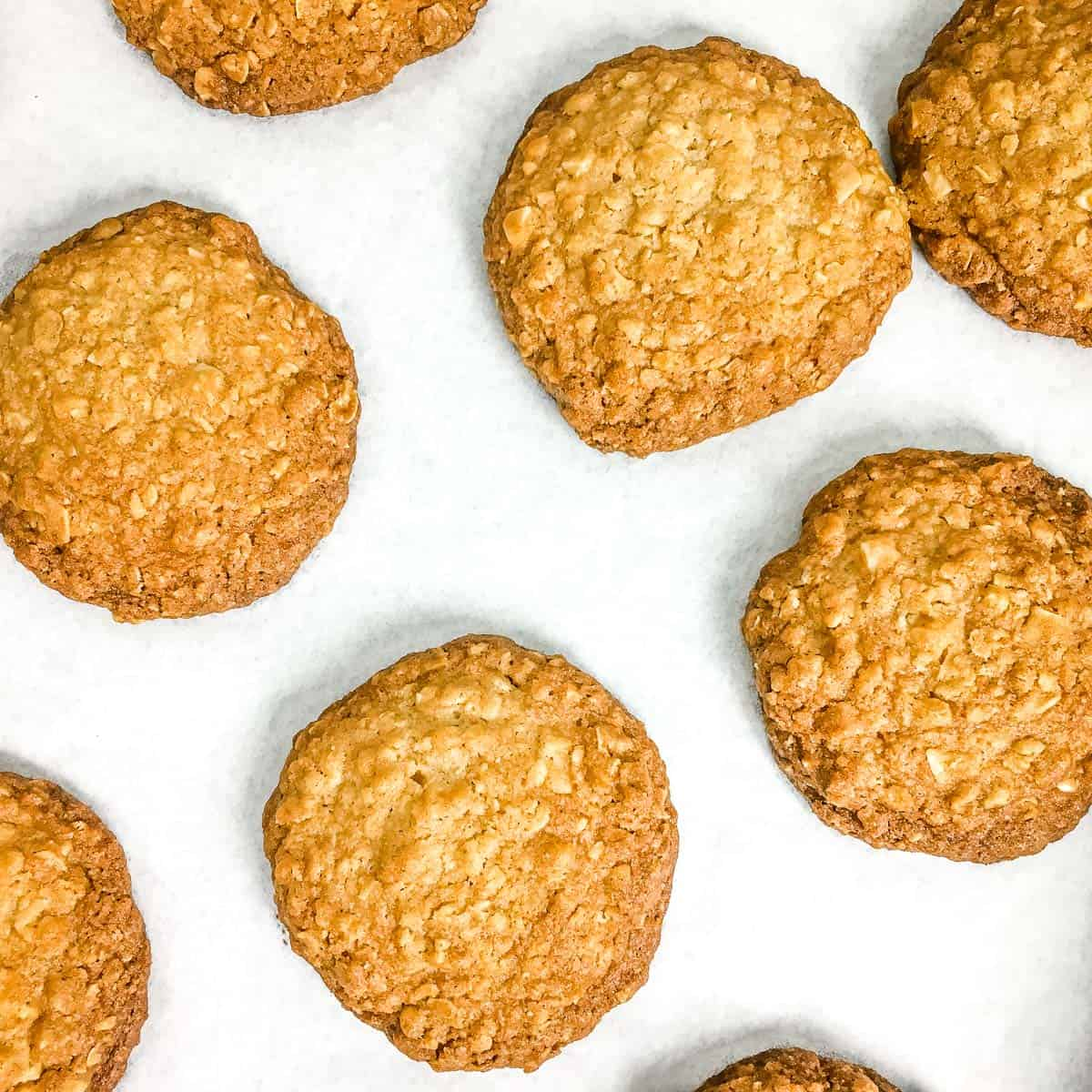 Baked cookies on a white parchment paper