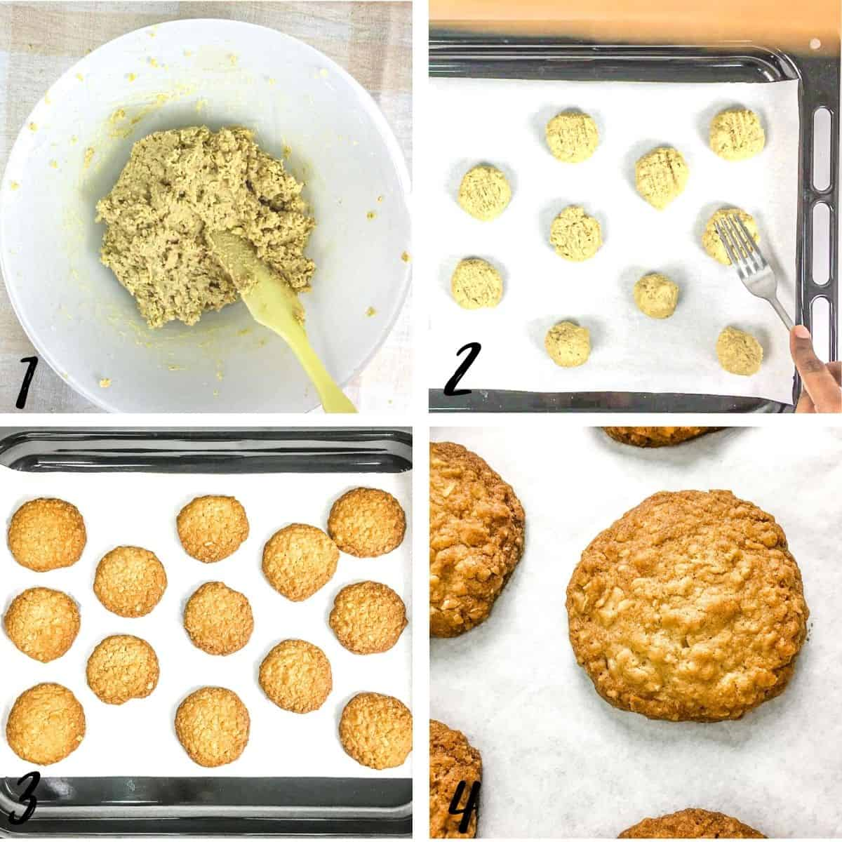 A poster of 4 images showing how to shaped cookies into balls and flatten them with a fork
