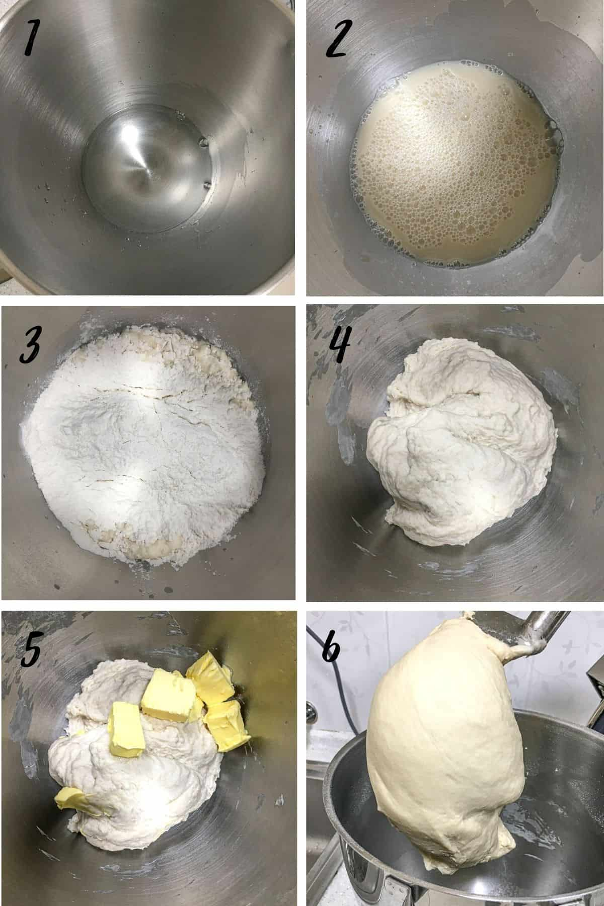 A poster of 6 images showing how to knead homemade white bread dough