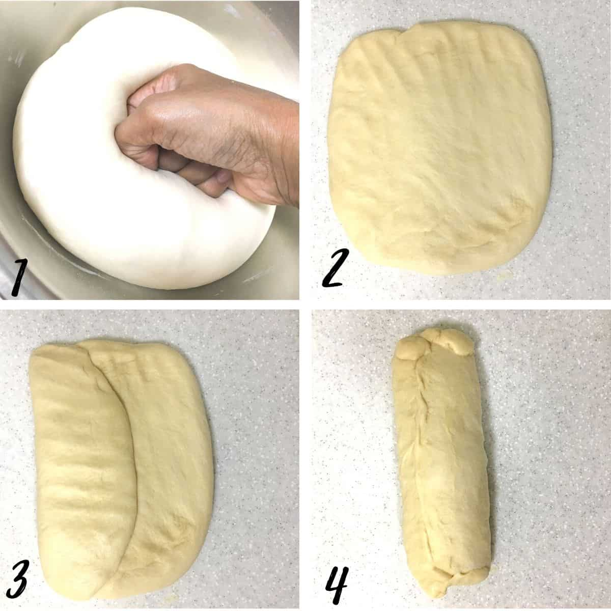 A poster of 4 images showing how to shape a bread loaf