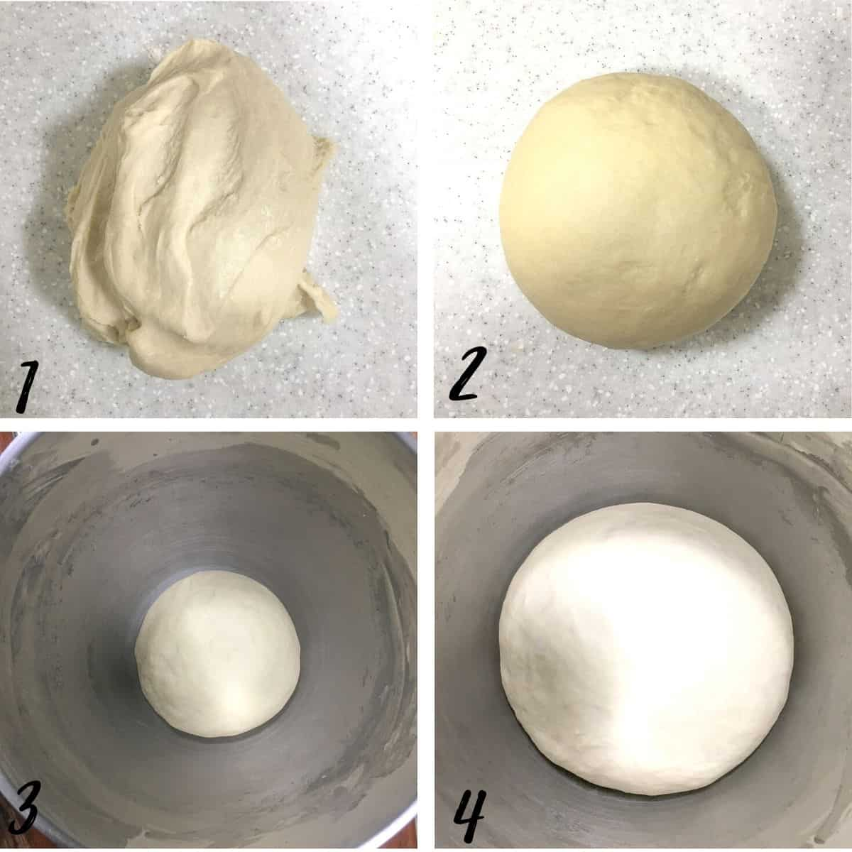A poster of 4 images showing how to proof bread dough