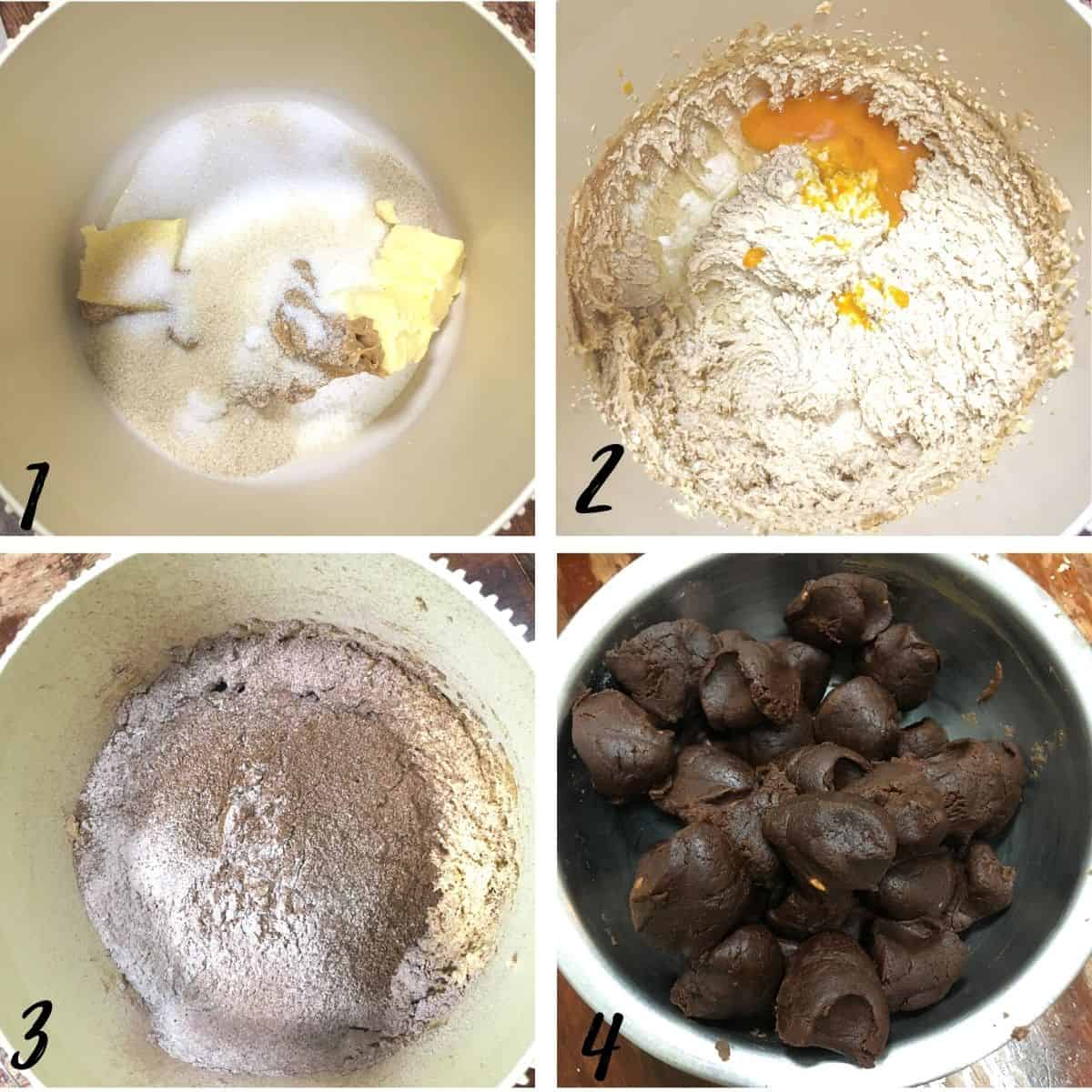 A poster of 4 images showing how to make chocolate cookie dough