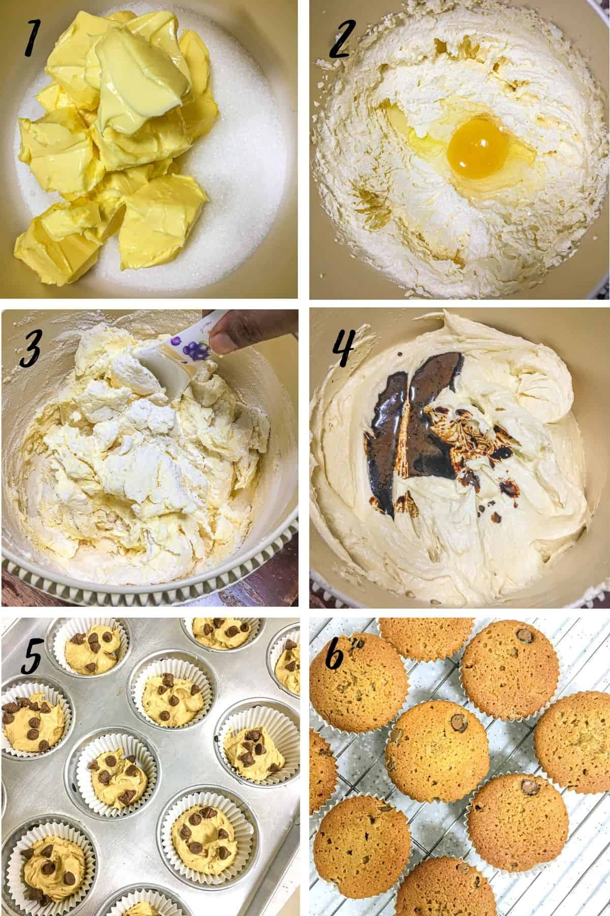 A poster of 6 images showing how to make coffee cupcakes from scratch