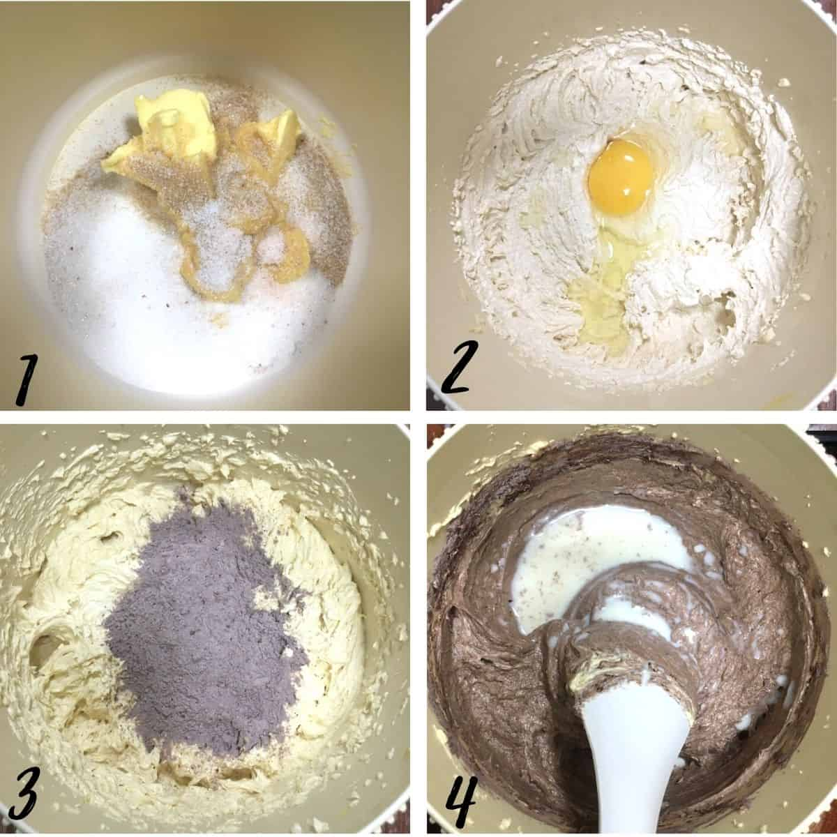 A poster of 4 images showing how to mix chocolate cupcakes from scratch