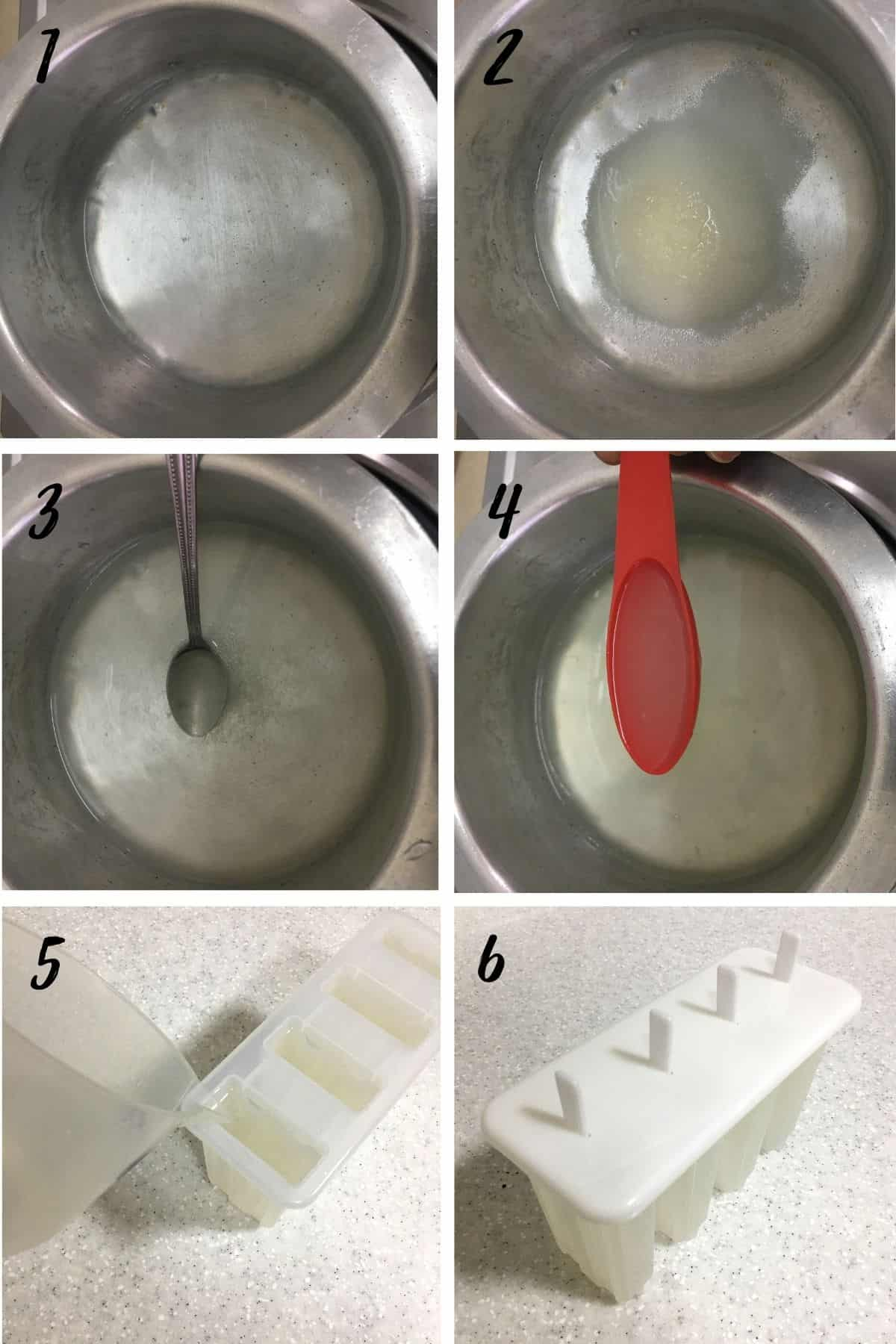 A poster of 6 images showing how to make lime popsicles