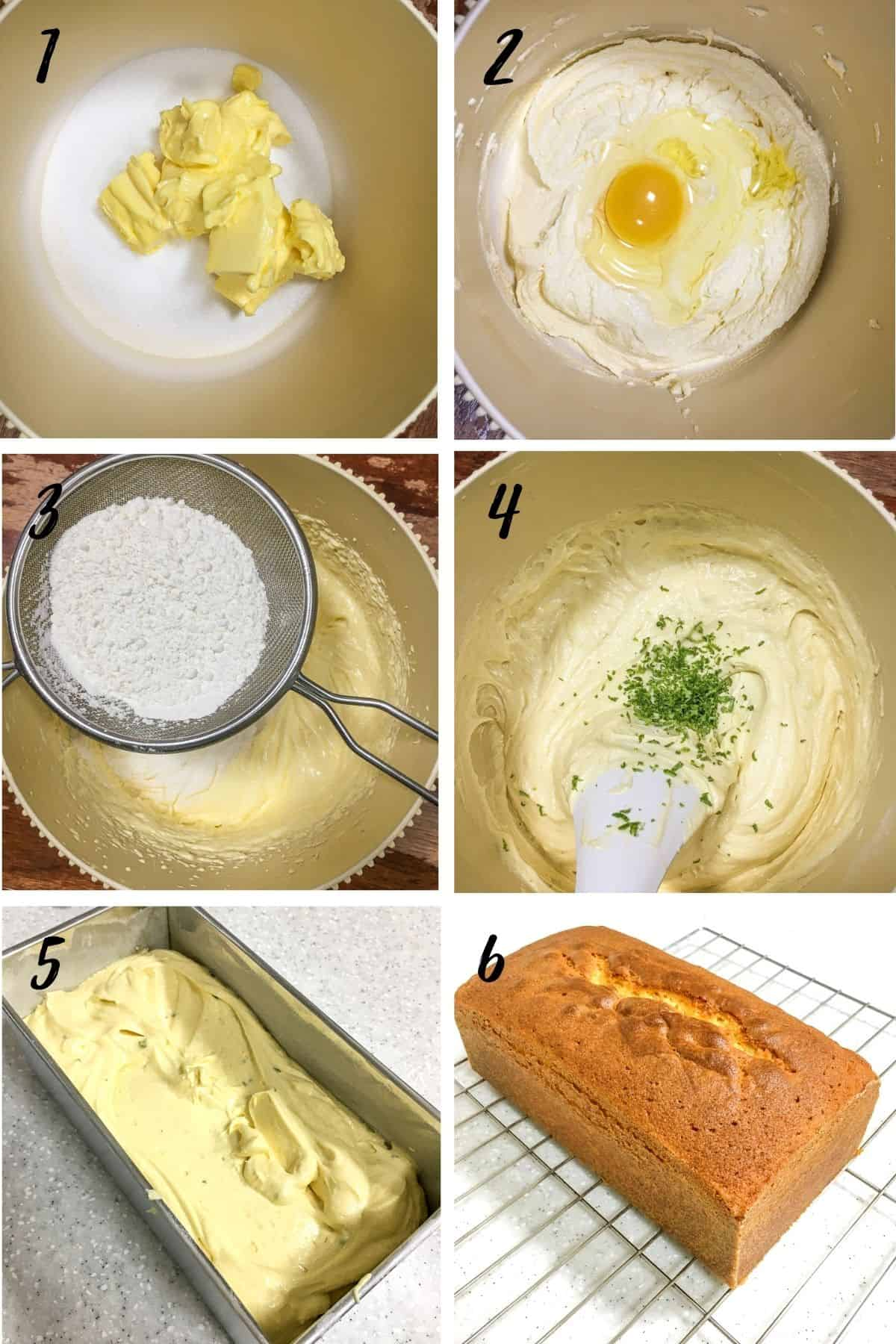 A poster of 6 images showing how to mix lime pound cake batter