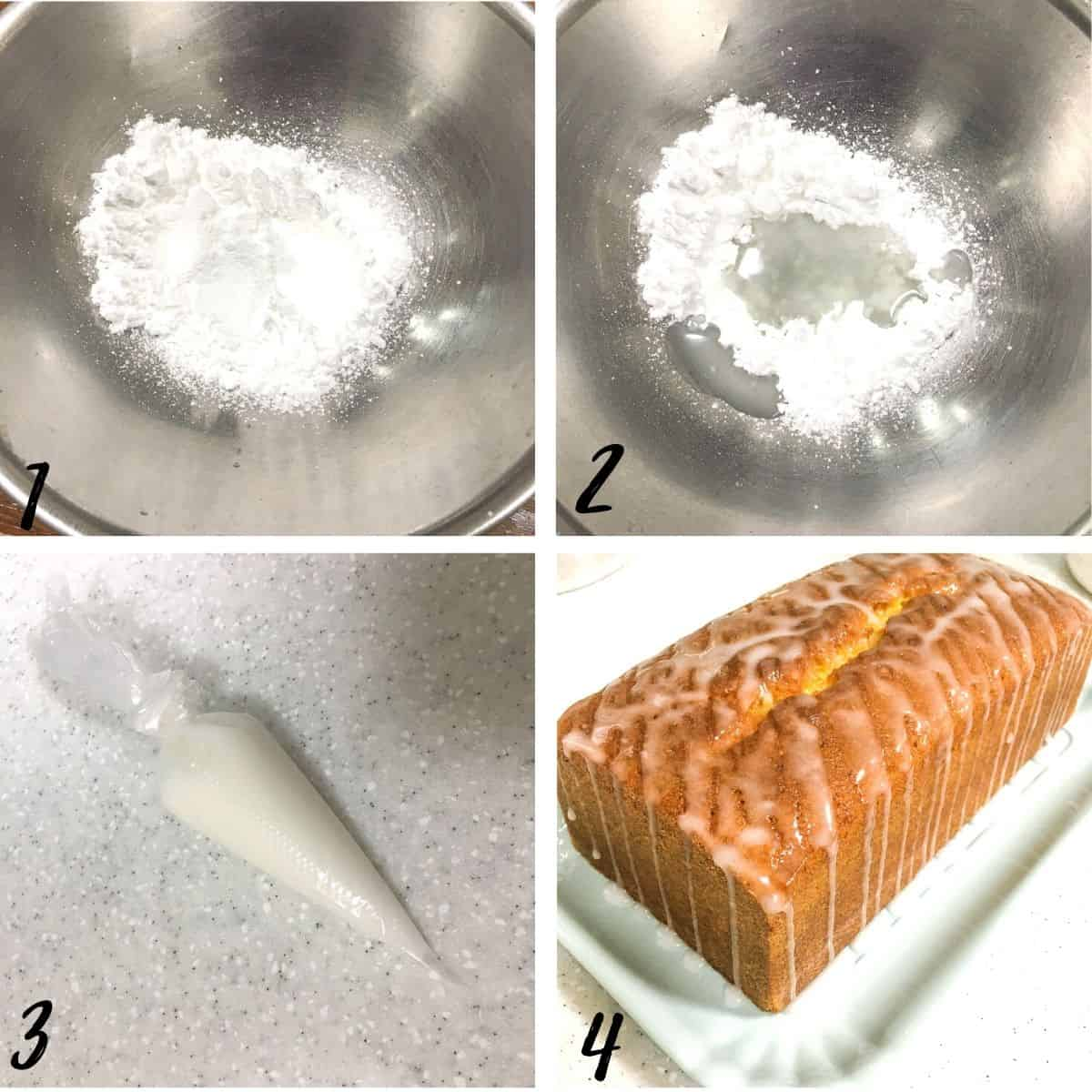 A poster of 4 images showing how to mix lime sugar glaze icing