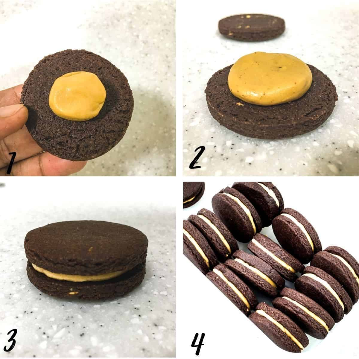 A poster of 4 images showing how to assemble chocolate peanut butter sandwich cookies