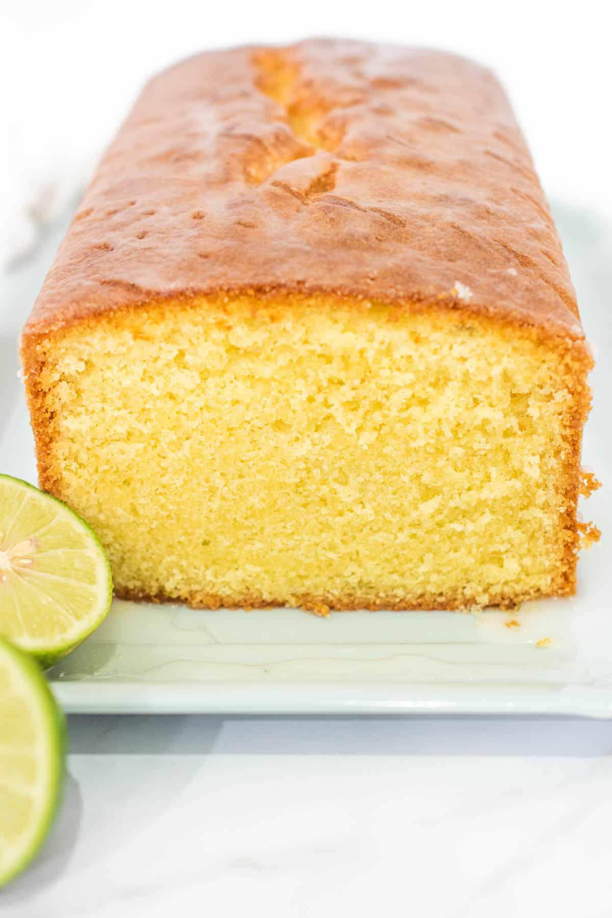 A lime pound cake cut