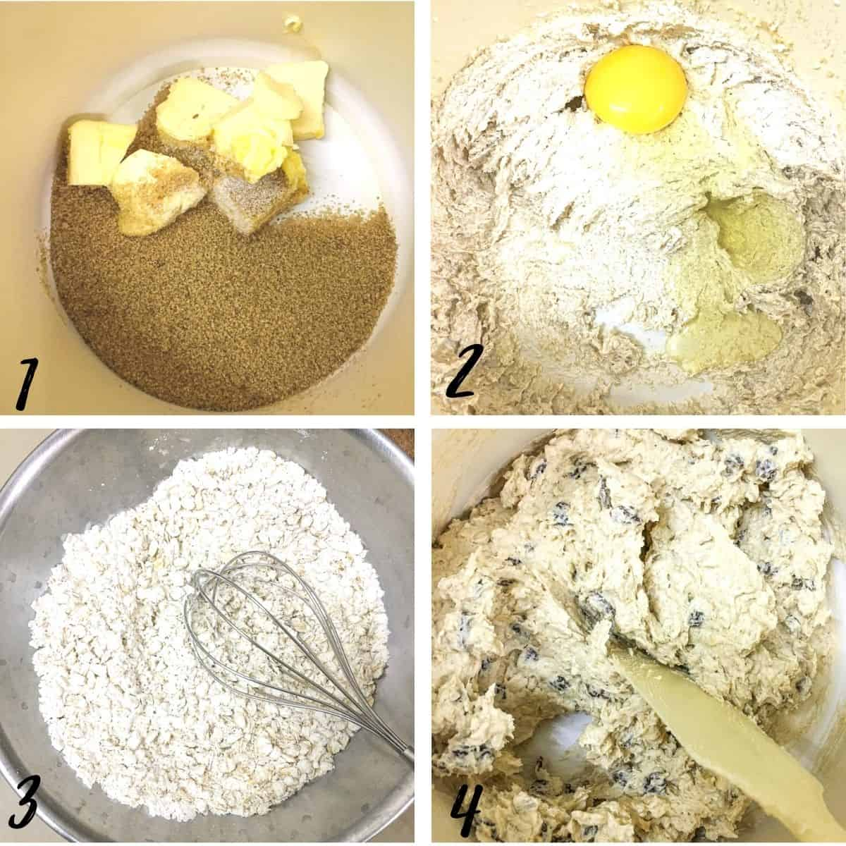 A poster of 4 images showing how to mix oatmeal cookies dough