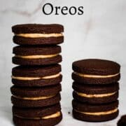 2 stacks of homemade peanut butter Oreo cookies