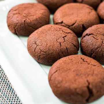 Close up of round chocolate cookies