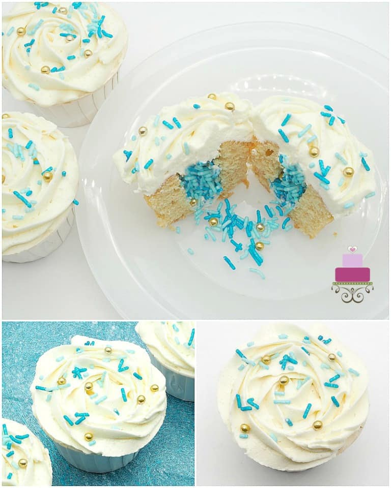 Cupcake cut into 2, showing showing blue sprinkles filling