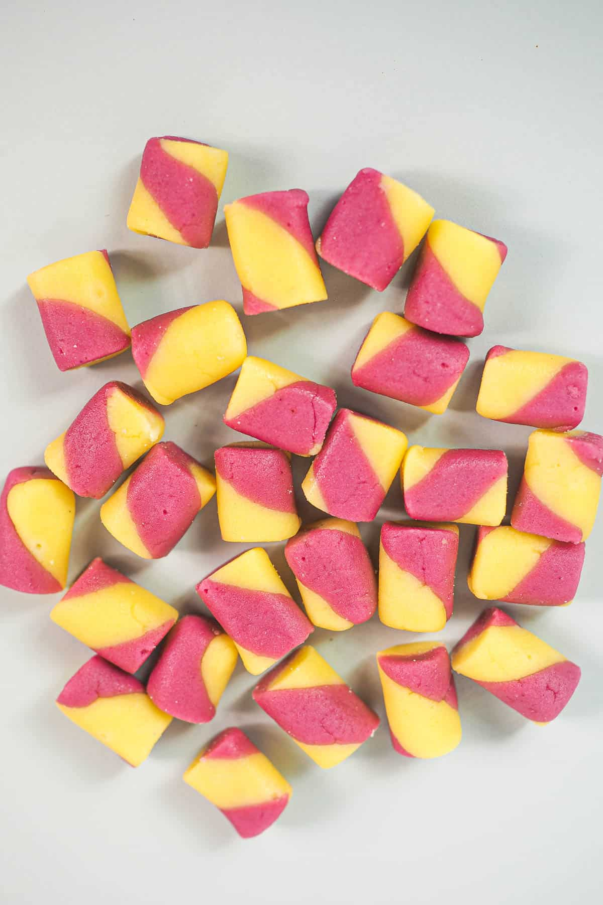 Pink and yellow buttermints