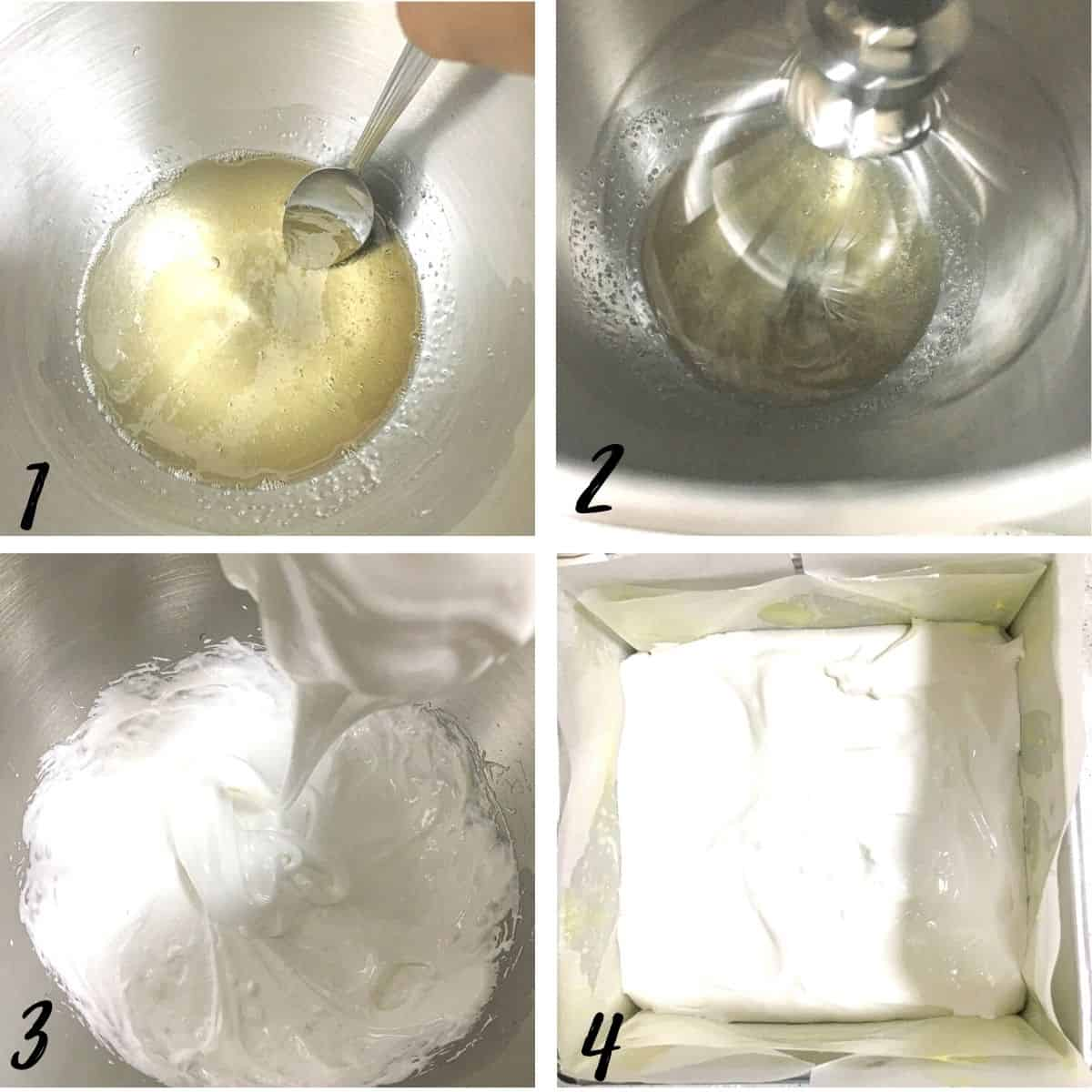 A poster of 4 images show how to add sugar syrup into dissolved gelatin to make marshmallows