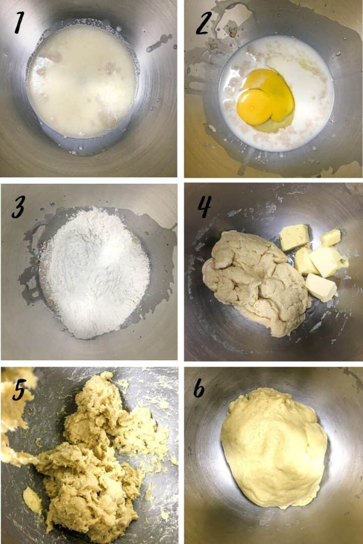 A poster of 6 images showing how to mix a dough