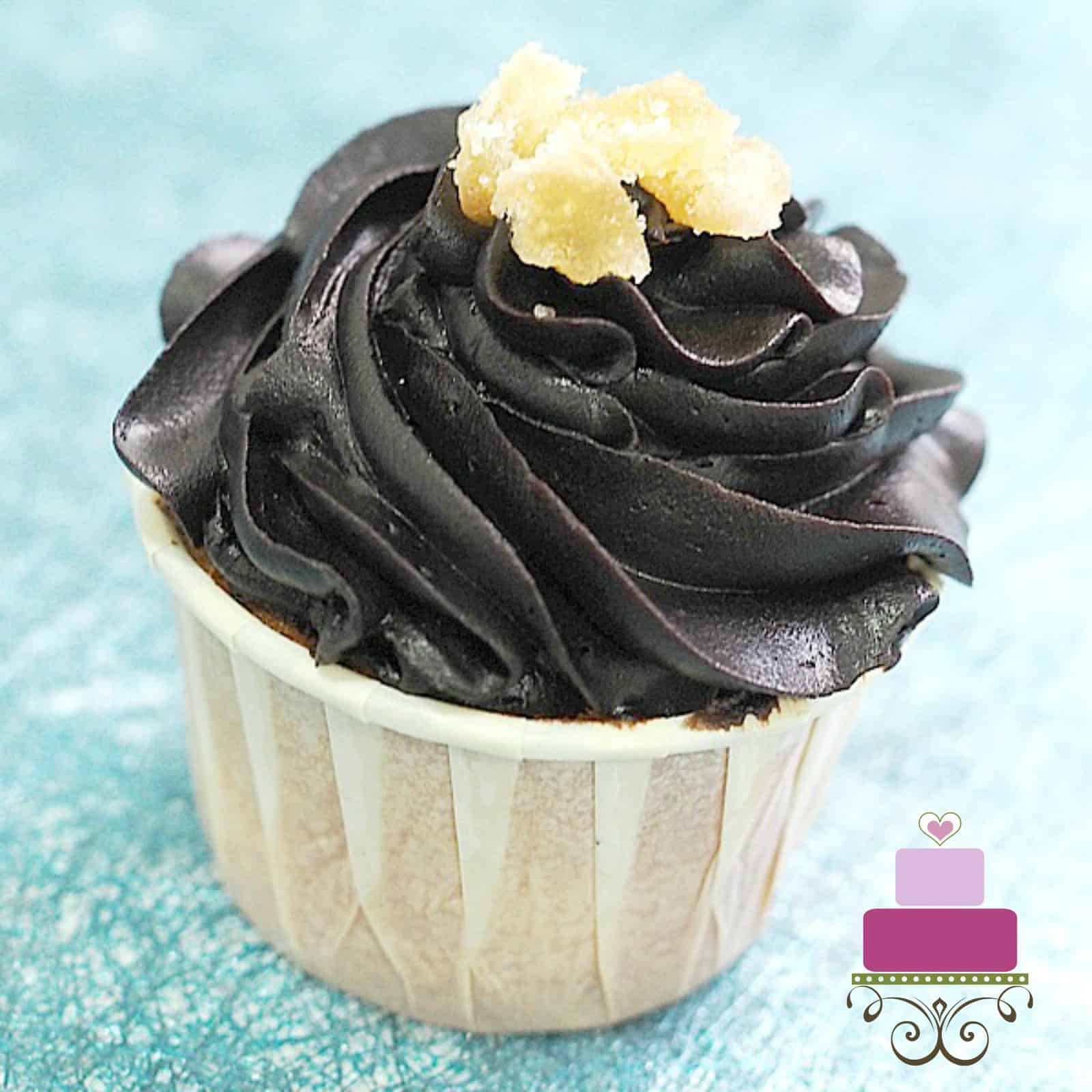 Cupcake with chocolate topping and candied ginger