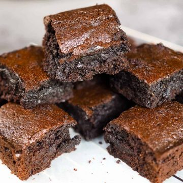 Chocolate brownies stacked