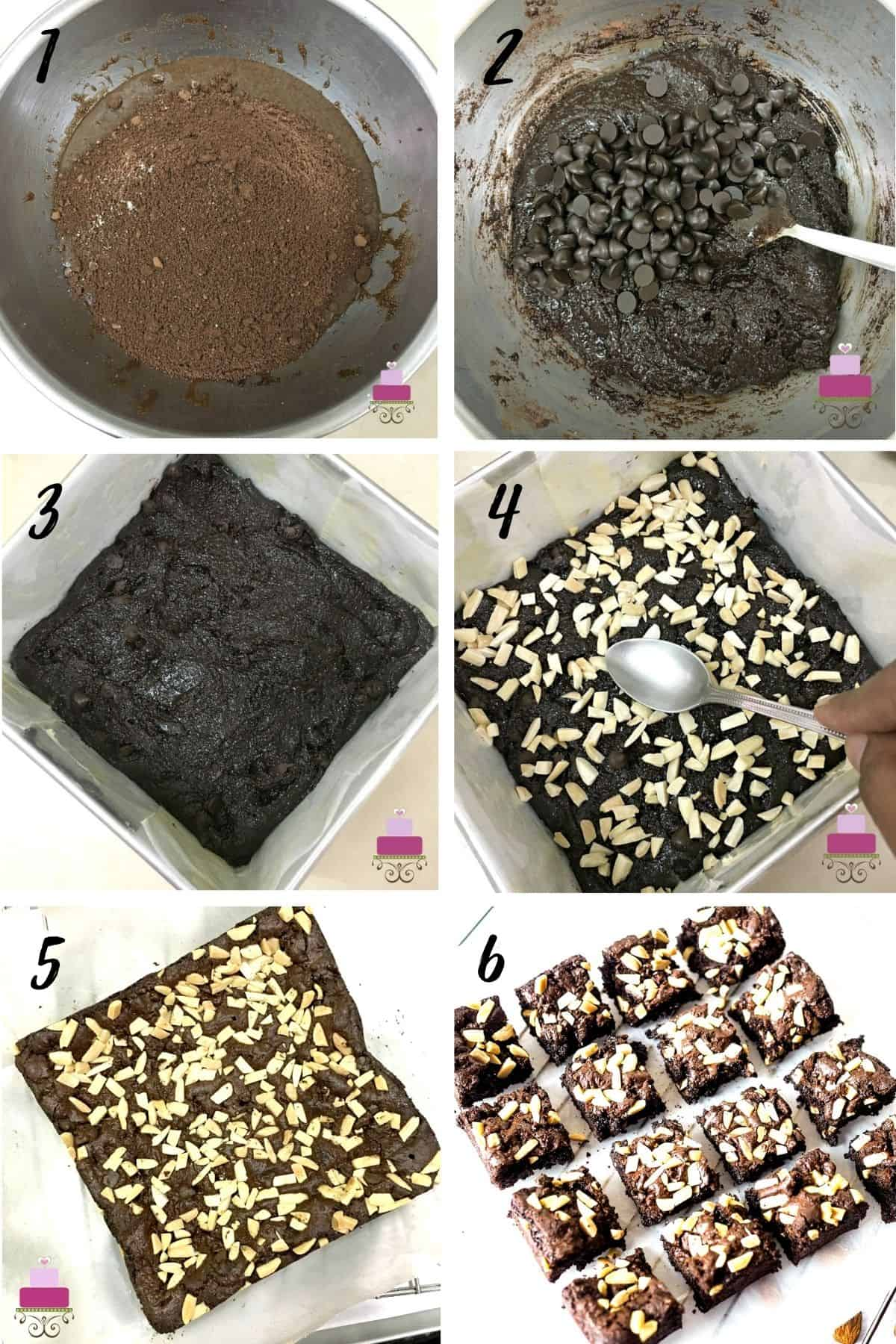 A poster of 6 images showing how to make almond brownies