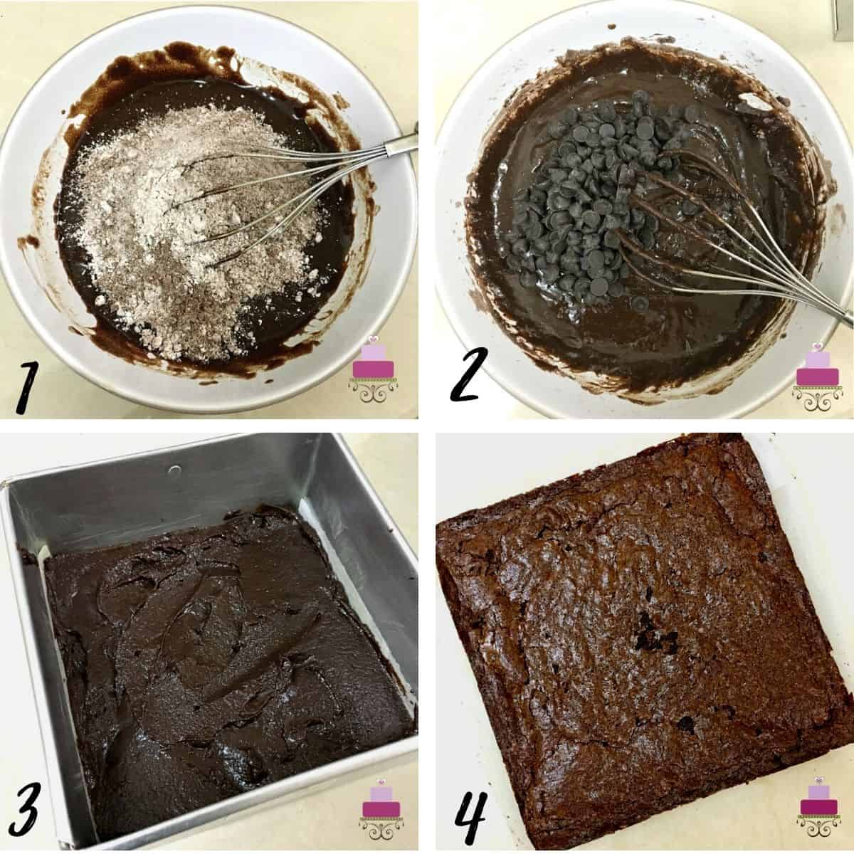 A poster of 4 images showing how to mix flour and chocolate chips into brownie batter, unbaked brownie in a square tin and a baked brownie.