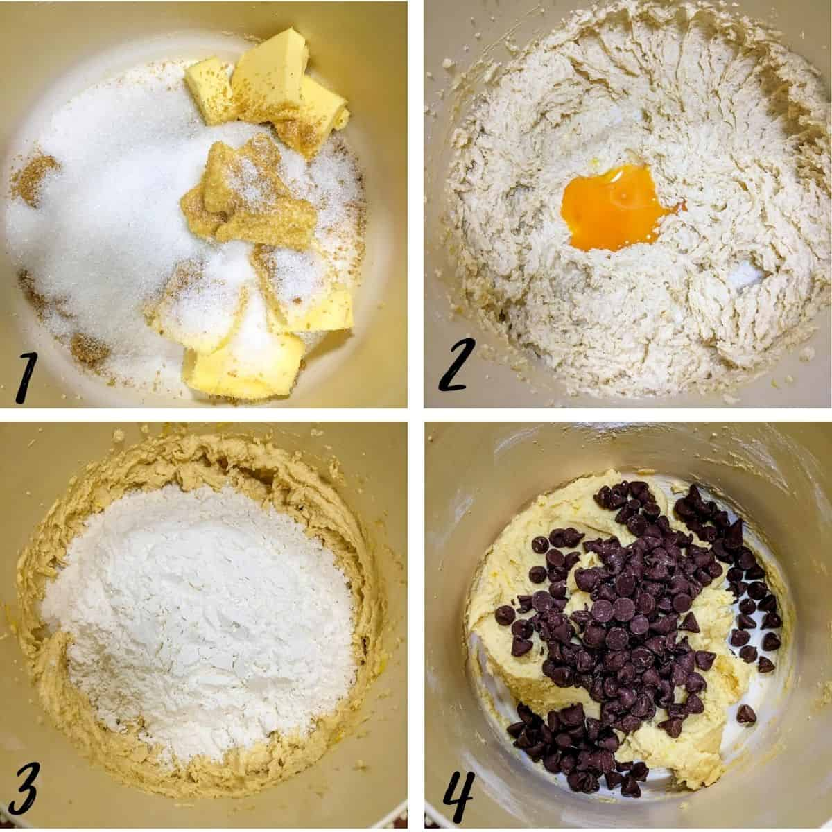 A poster of 4 images showing how to mix lemon chocolate chip cookie dough