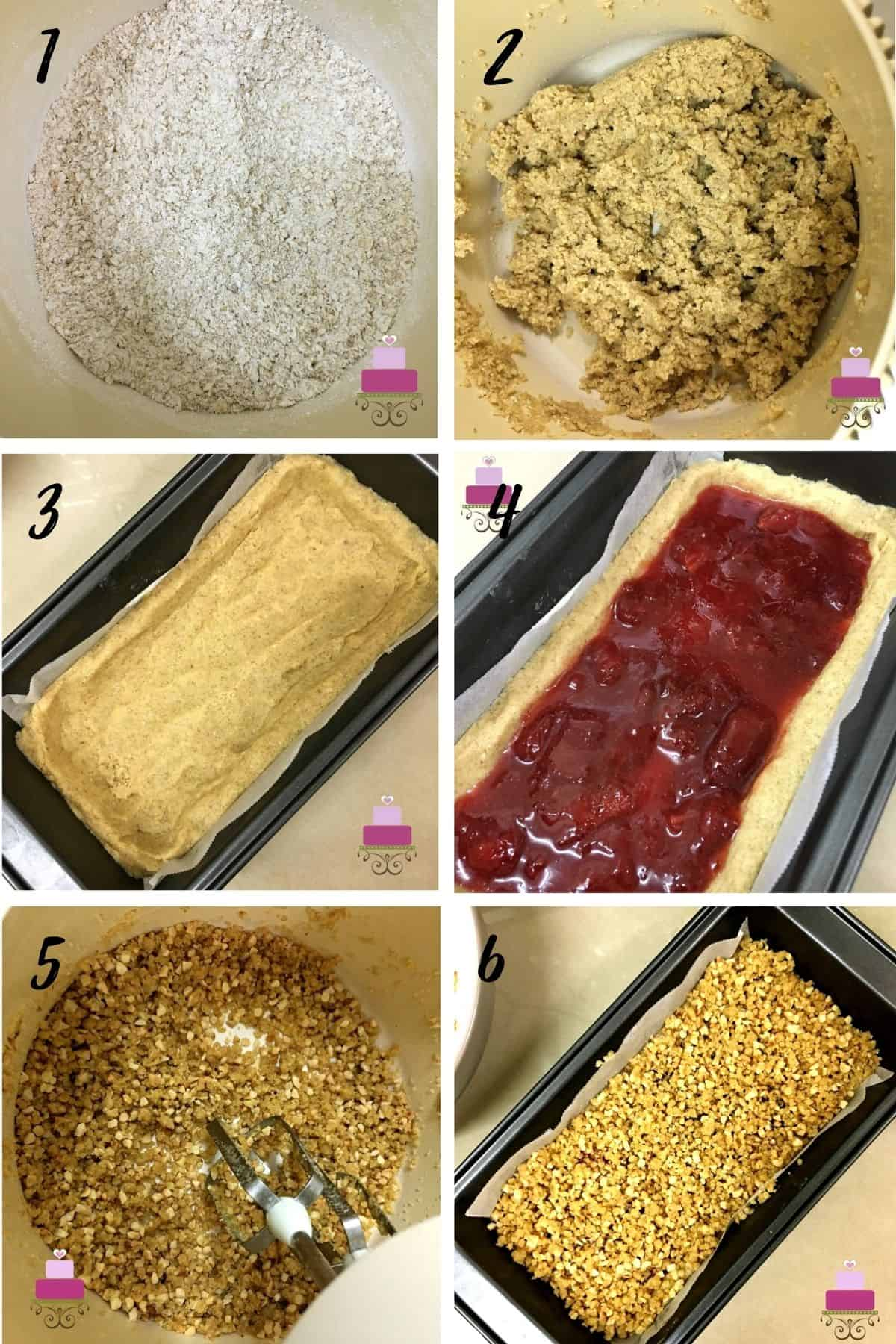 A poster of 6 images showing how to make strawberry oat bars