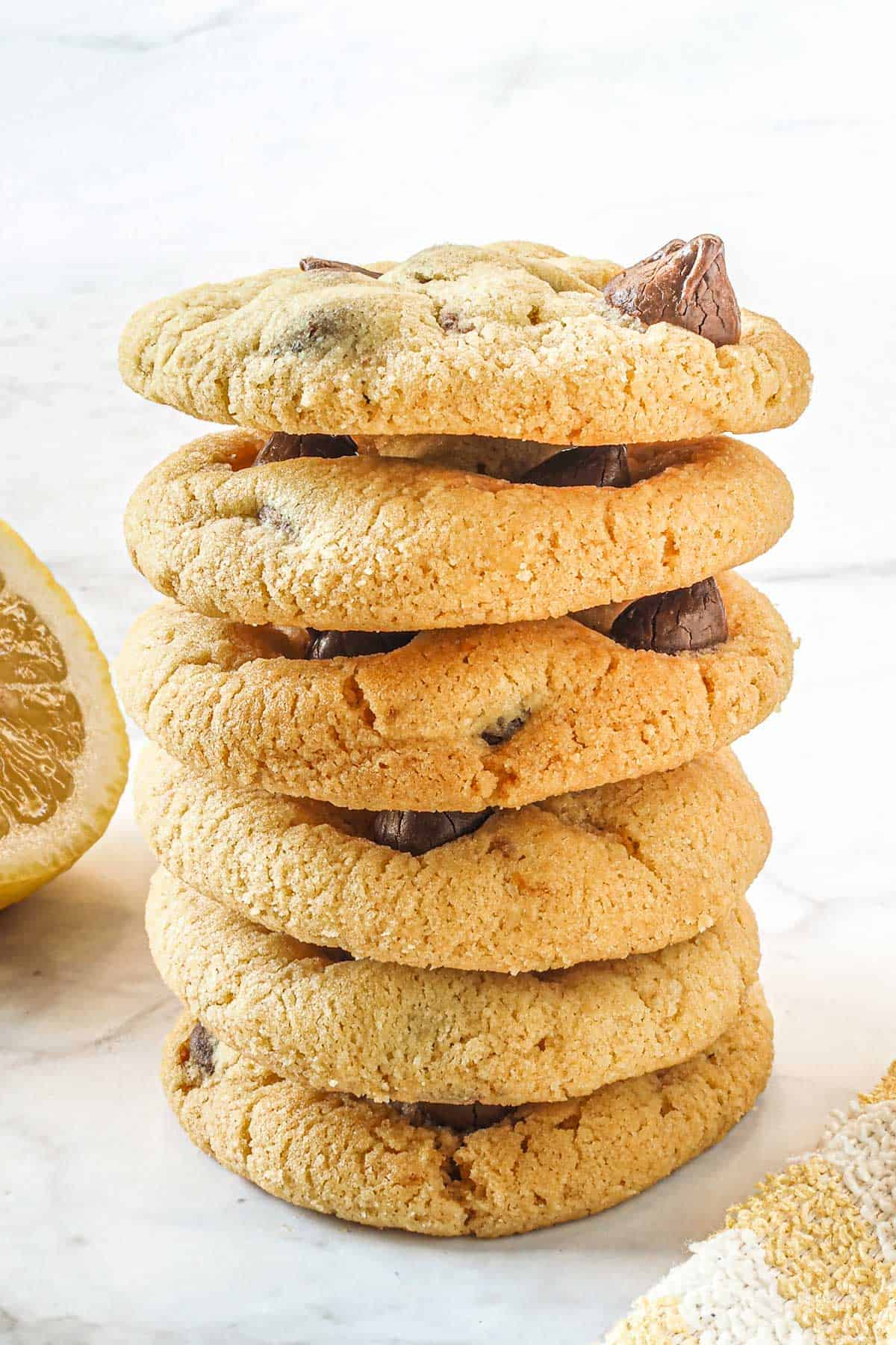 Lemon chocolate chip cookies stacked on one another