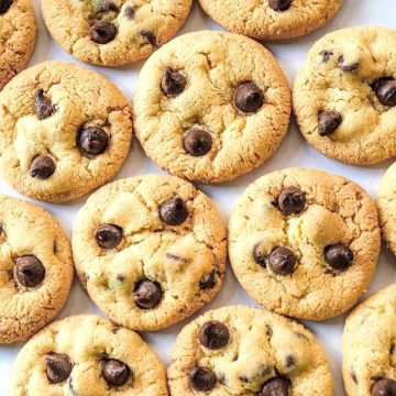 Chocolate chip cookies arranged flat, close to one another