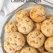 Close up image of butterscotch chips studded cookies