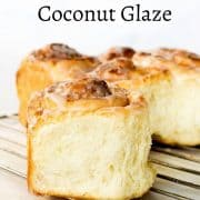 Close up images of coconut roll