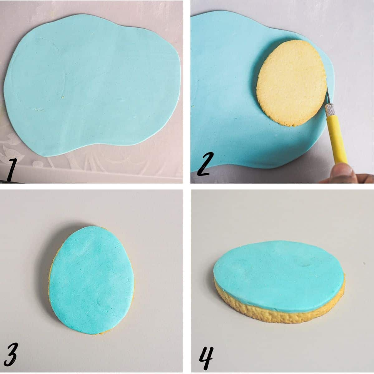 A poster of 4 images showing how to cover the top of an egg shaped cookie with blue fondant.