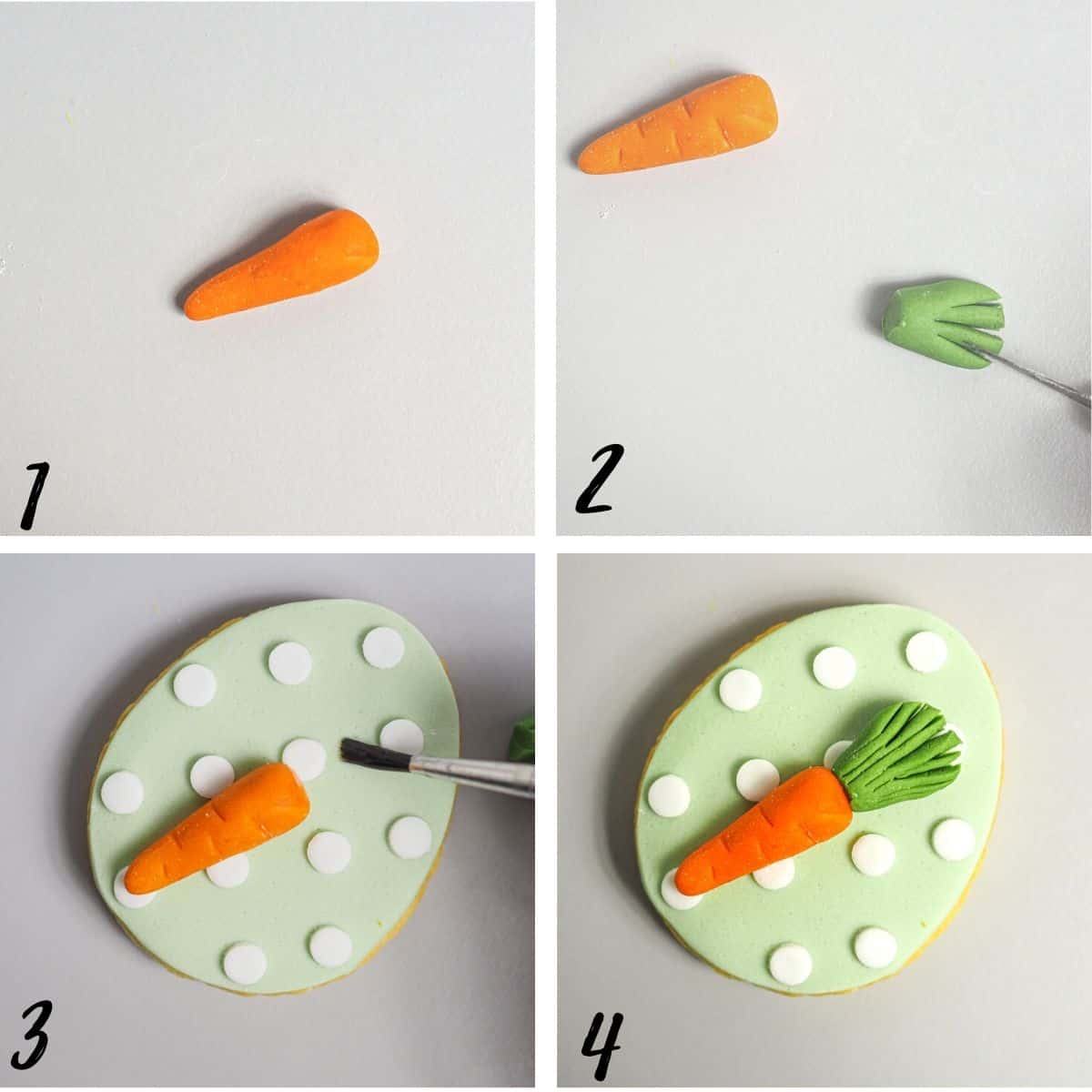 A poster of 4 images showing how to make fondant carrot