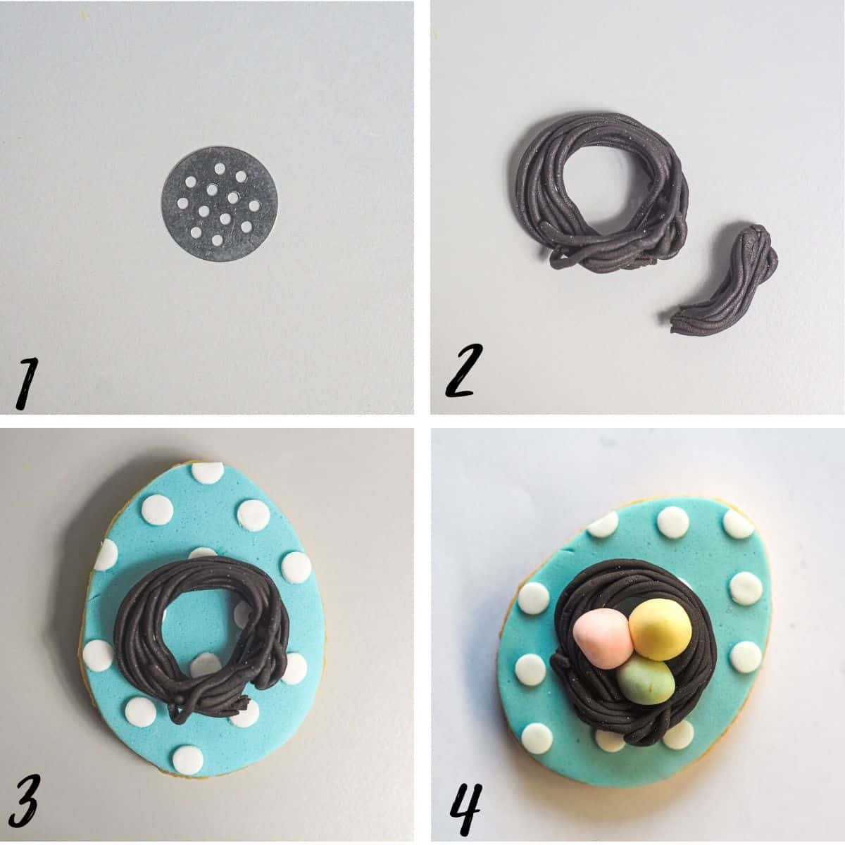 A poster of 4 images showing how to make fondant bird nest with fondant eggs