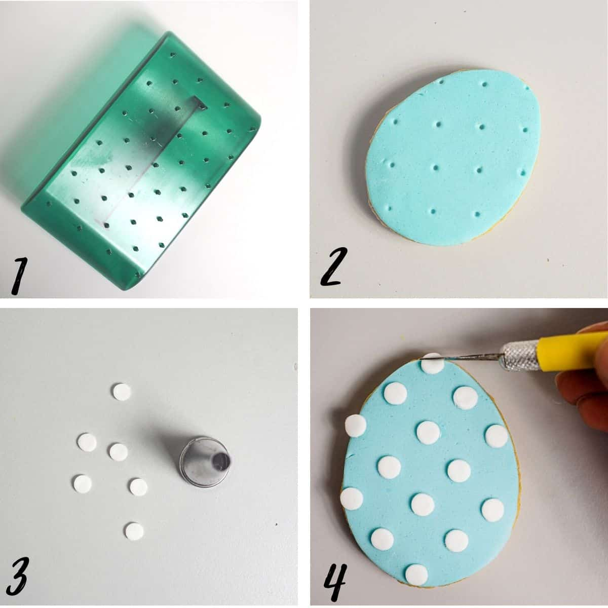 A poster of 4 images showing how to cover an Easter egg cookie with blue fondand and white polka dots