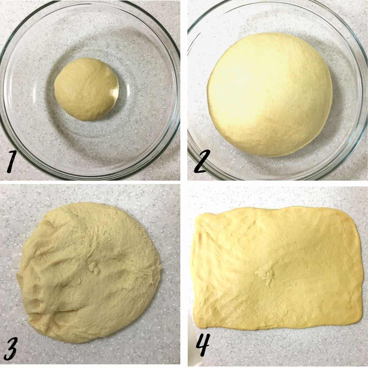 A poster of 4 images showing how to proof dough and how to roll it