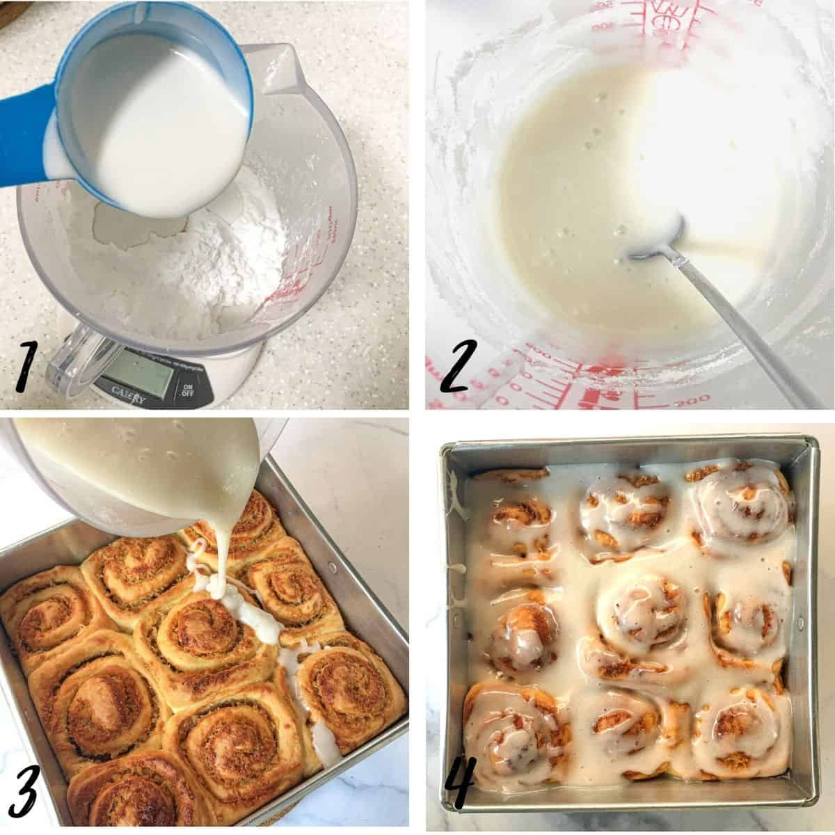 A poster of 4 images showing how to make coconut glaze and how to pour it onto coconut rolls