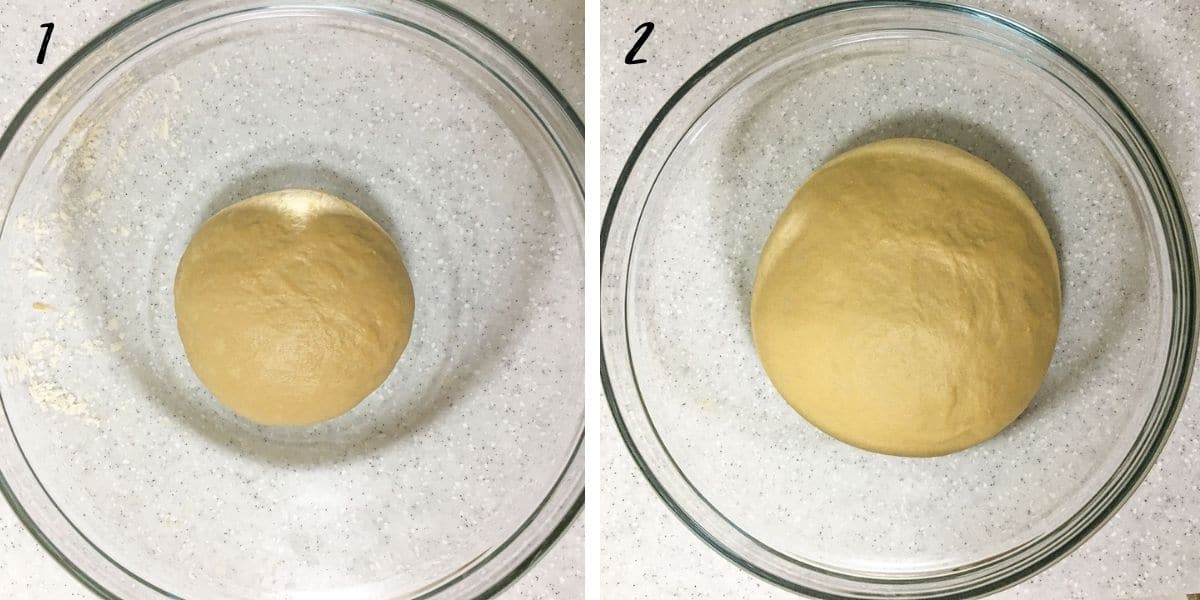 2 images show dough before and after proofing