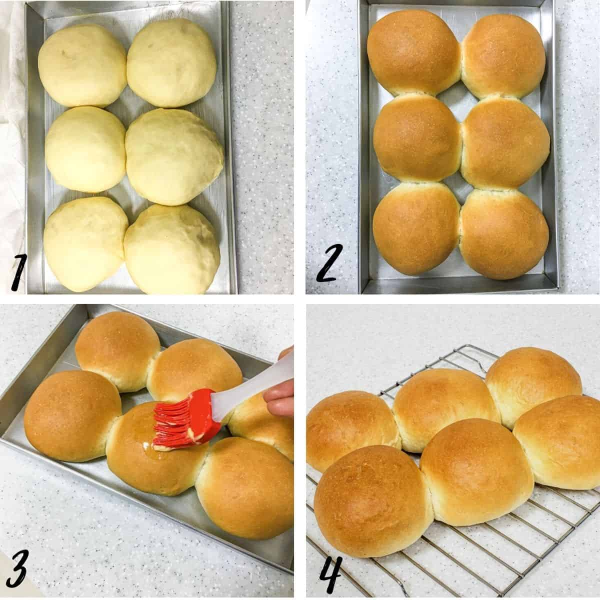 A poster of 4 images showing proof yeast rolls, baked rolls, applying butter to the rolls and cooling the rolls on a wire rack.