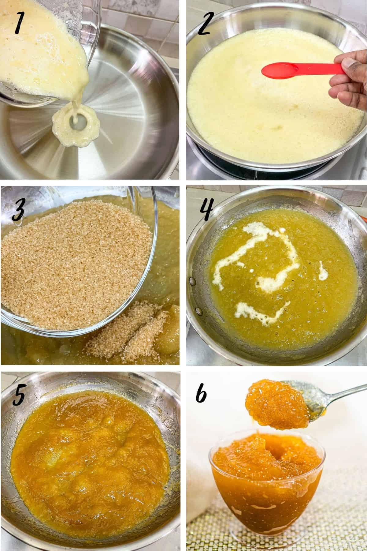A poster of 6 images showing how to make pineapple filling