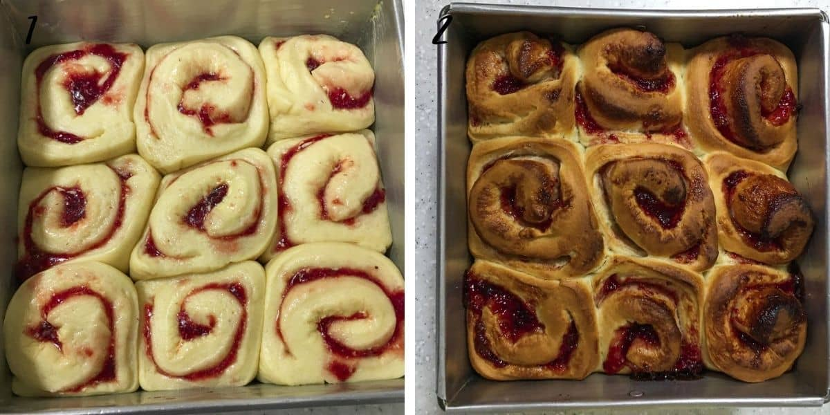 A poster of 2 images of strawberry filled rolls, before and after baking