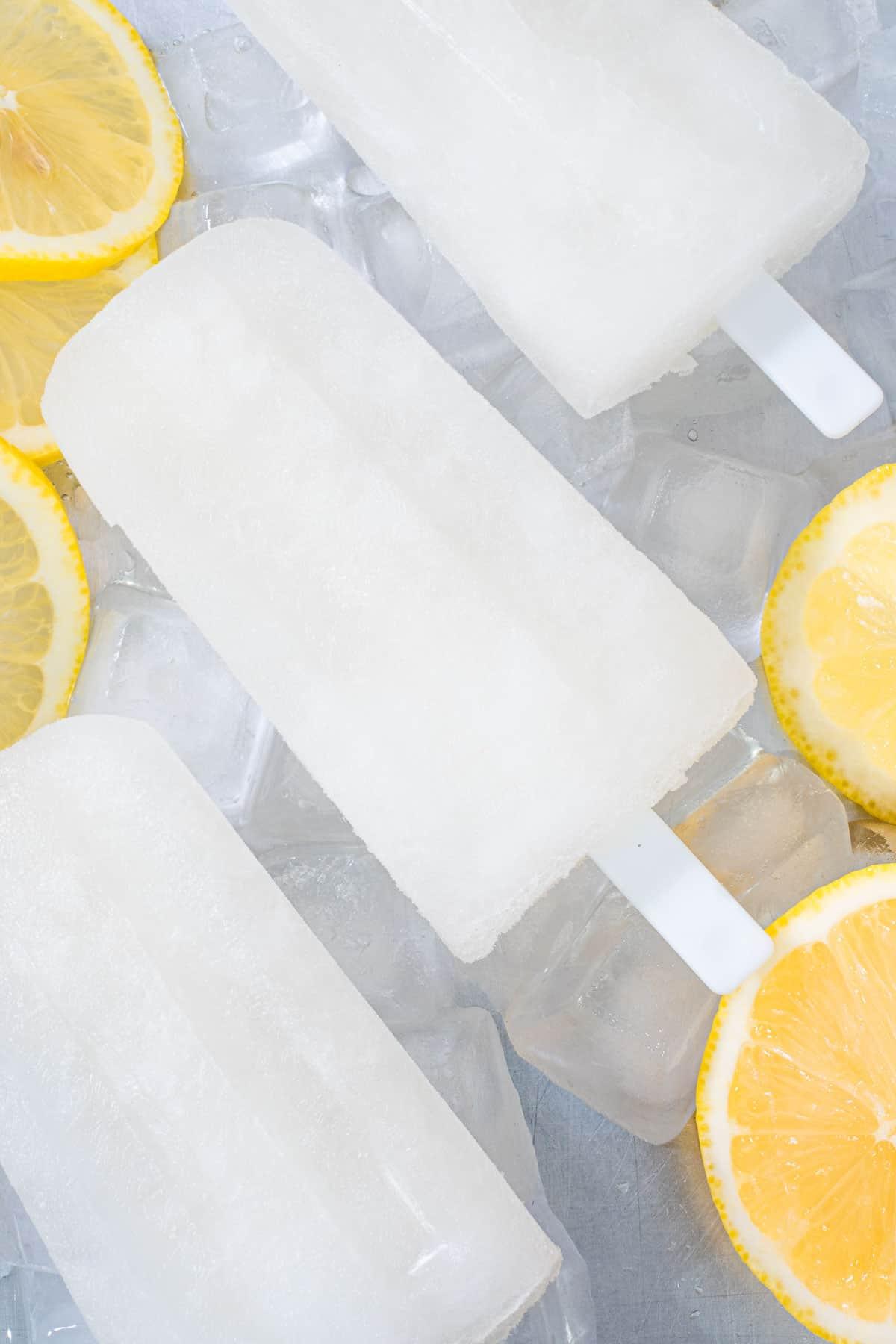 Close up of lemonade popsicles
