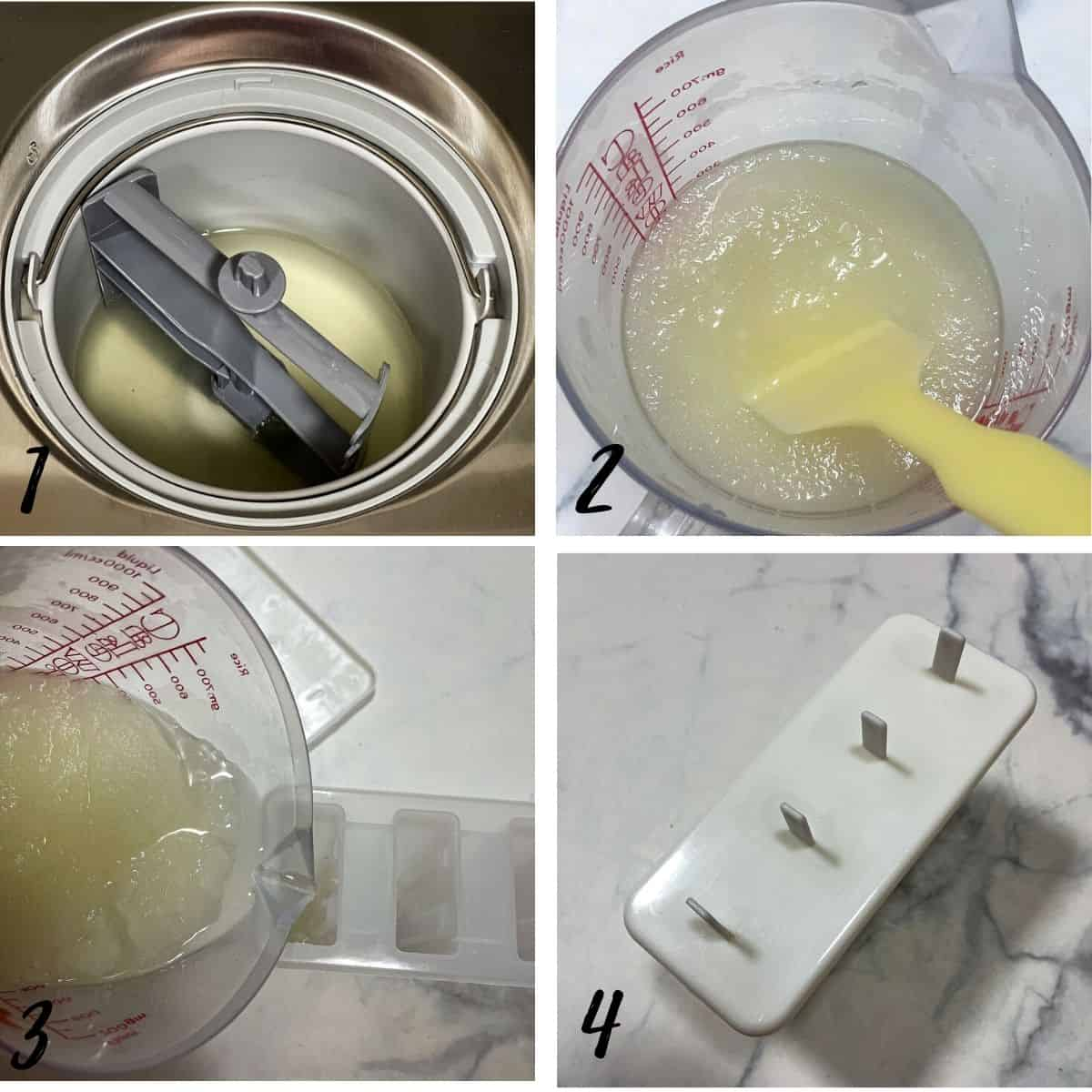 A poster of 4 images showing how to churn lemonade before pouring into popsicle mold
