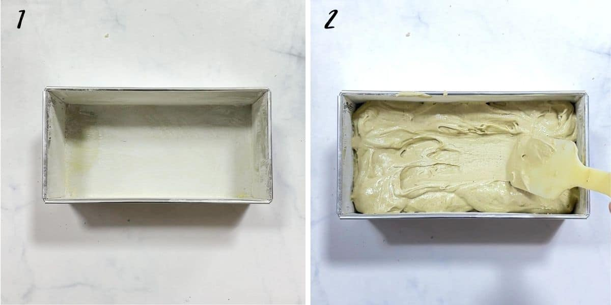 A poster of 2 images, one with an empty loaf tin, one with the tin filled with batter