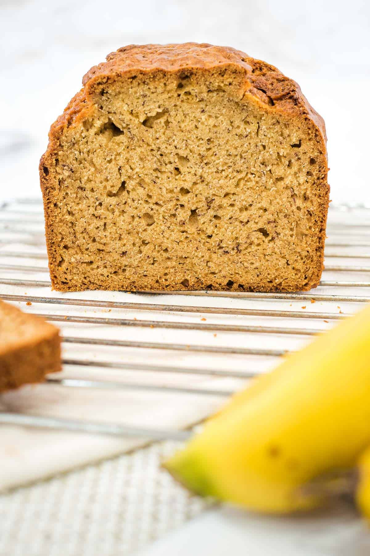 The front of a banana bread loaf after slicing