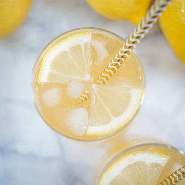 Top view of a lemon drink with quartered lemon slices and ice cubes in it.