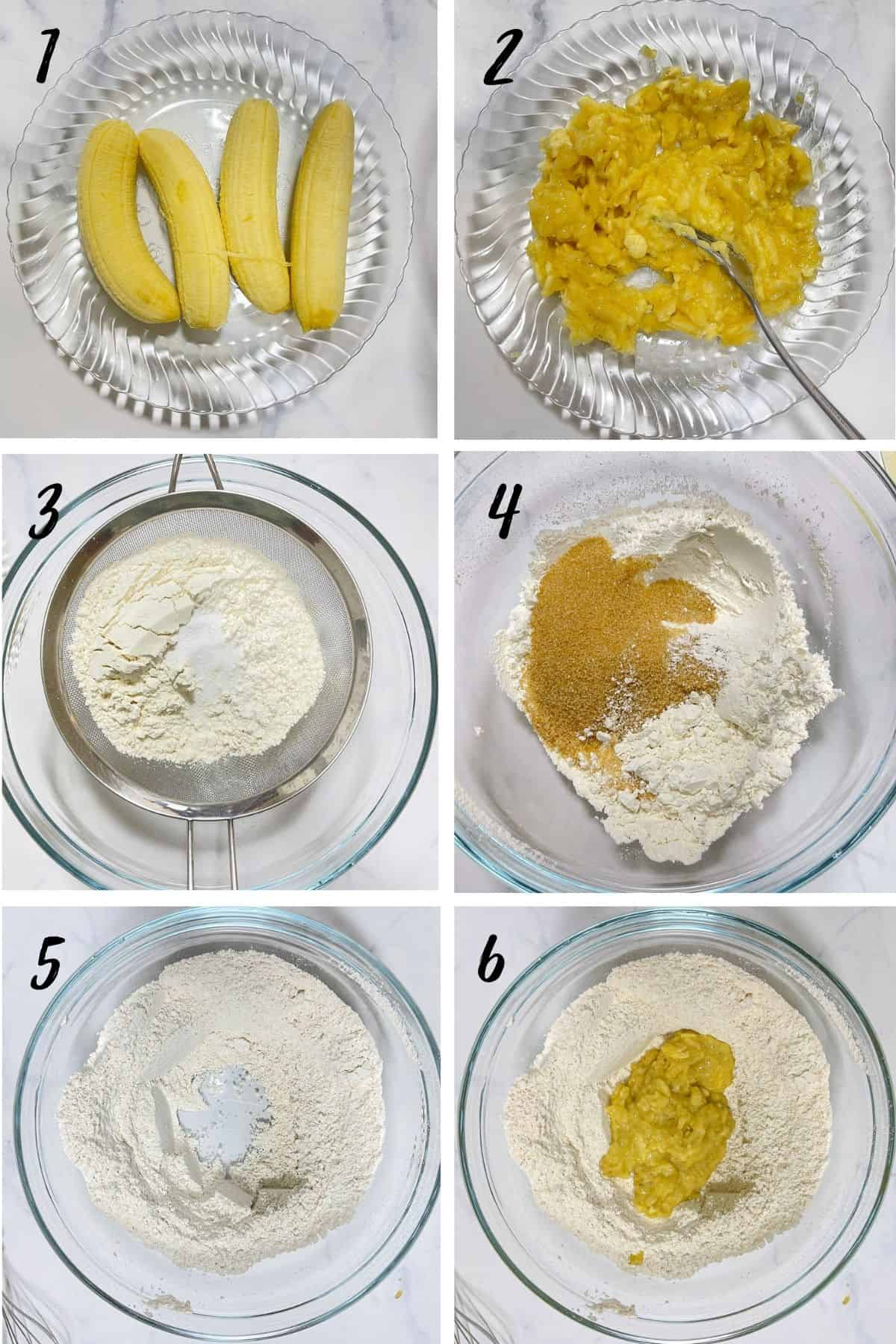 A poster of 6 images showing how to mix banana bread batter