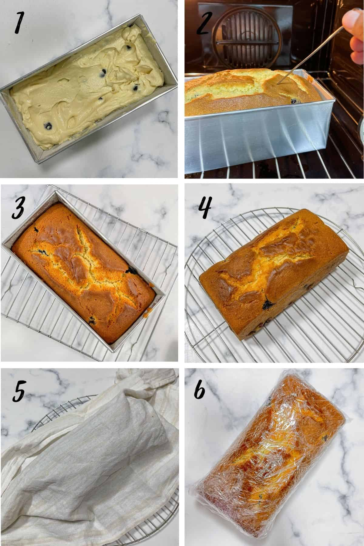 A poster of 6 images showing how to bake a blueberry cake loaf, how to cool it and wrap it in cling wrap