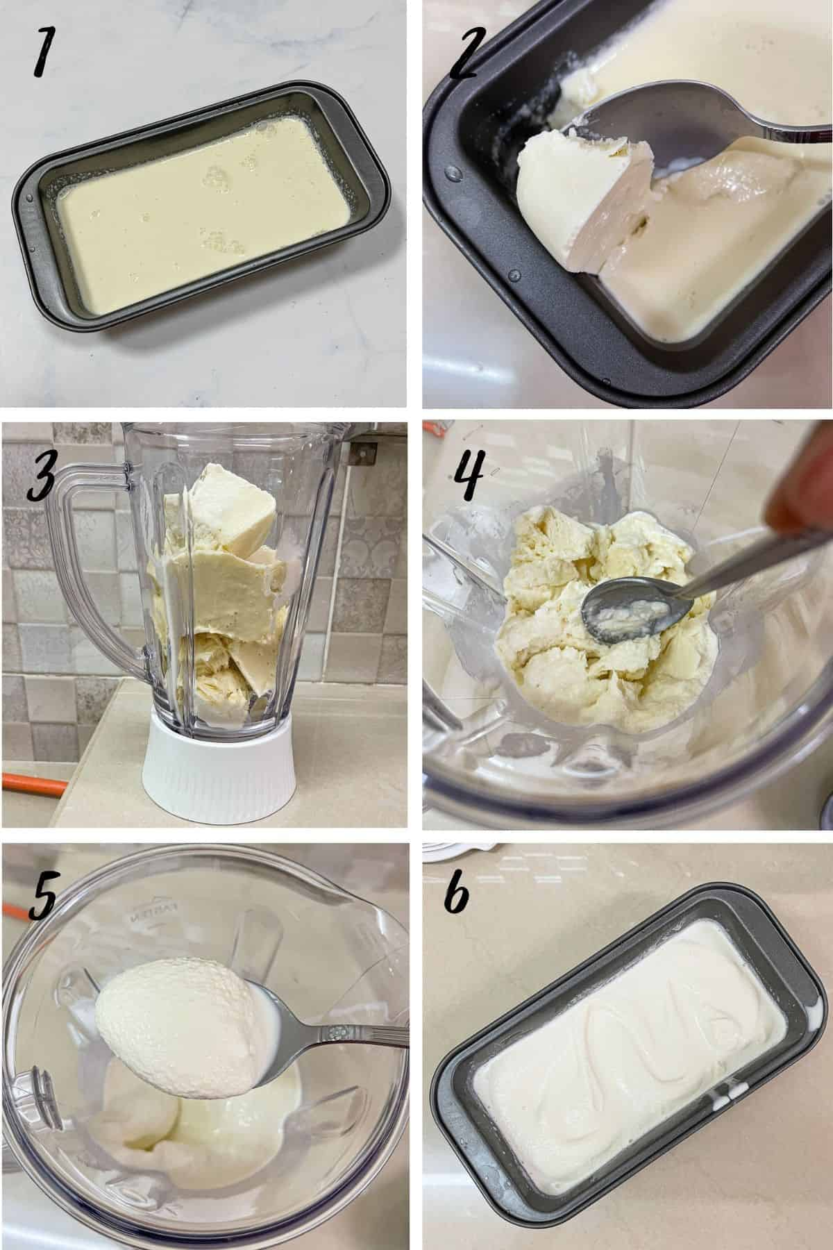 A poster of 6 images showing how to make churned ice cream with a blender